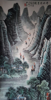 Hand-painted Chinese scroll painting《李可染-清漓胜景图》立轴, - China - late 20th century