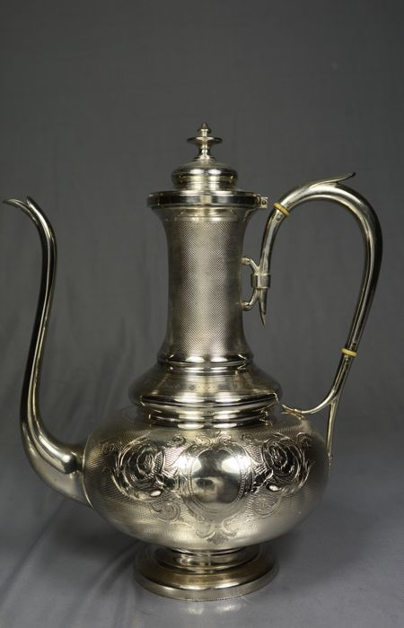 Silver teapot with guilloche pattern, France , late 19th century, by Tallois & Mayence