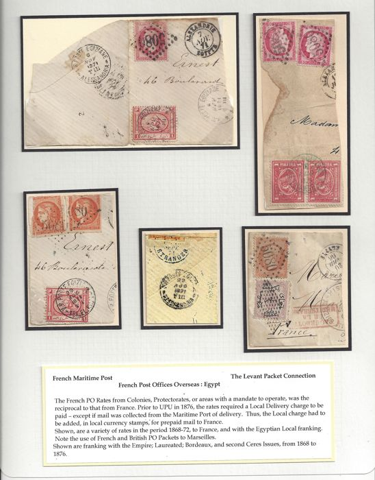 France 1868/1876 - Empire Laureate, Bordeaux and second Ceres Issues, French Post offices Overseas Egypt, The Levant Packet Connection