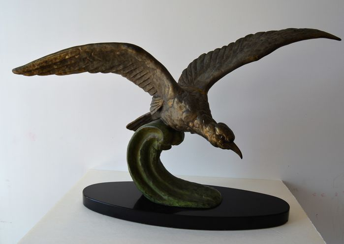 P. Mimalix - Seabird - Art Deco patinated bronze sculpture
