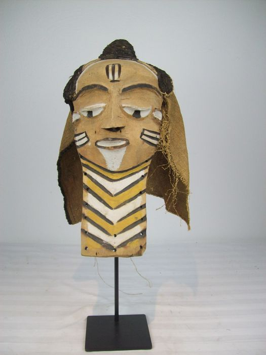 African - PENDE MUYOMBO Mask, D.R. Congo with Iron Stand.