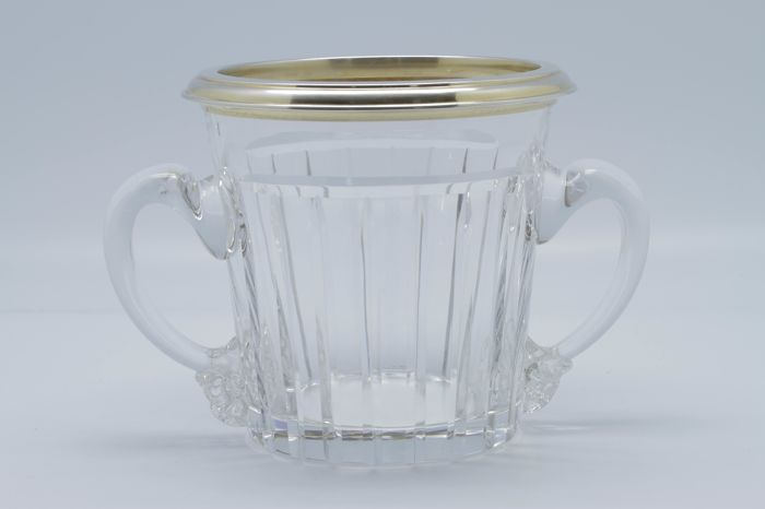 Exceptional cut crystal and silver gilt ice bucket, Empire era, France