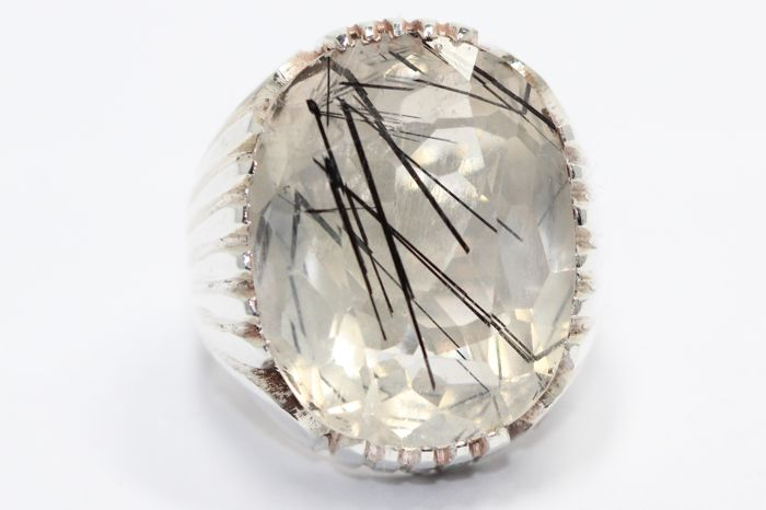 Silver men's ring set with natural rutile quartz 28 ct size 62.