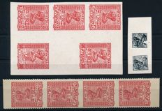 SCS Croatia - 1919 - statement of authorship, 11 proof copies, 10 fil to 45 fil red