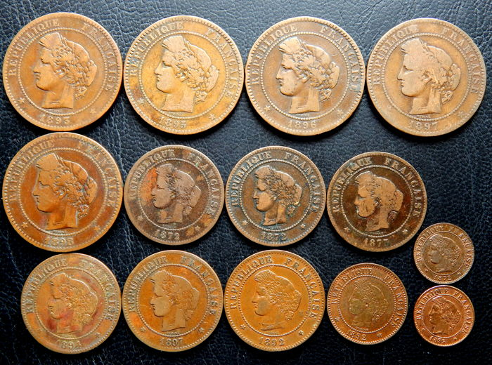 France - 1 cent to 10 cents 1872/1898 'Ceres' (14 coins) - bronze