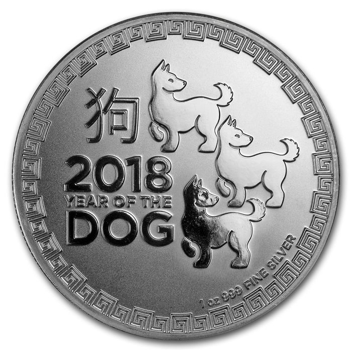 Niue – 2 Dollar 2018 'Year of the Dog' – 1 oz silver