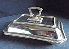 Beautiful serving dish with lid, silver plated with removable handle marked James Dixon c1910