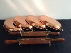 4 Large oval copper oven trays and 2 carving forks and spoons in wooden sheath with brass closures