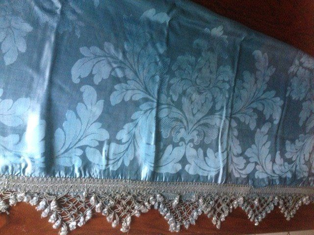 Majestic blue San Leucio heavy damask silk bedspread with trimmings, Italy, late 1800s