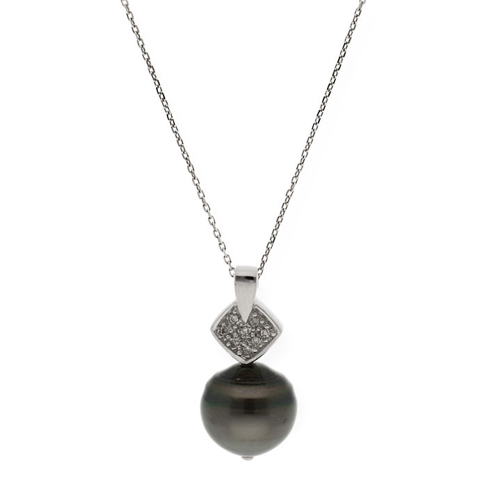 White gold, 18 kt - Choker with pendant - Diamonds, 0.20 ct - Tahitian baroque pearl, 12.30 mm