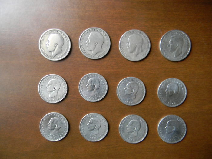 Great Britain and Greece - 12 silver coins: three 1 florin coins George V - One 2 shilling coin George VI - Eight 20 drachma coins Paul I