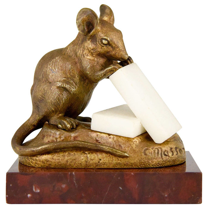 Clovis-Edmond Masson (1838-1913) - Mouse with chunks of cheese - patinated bronze sculpture