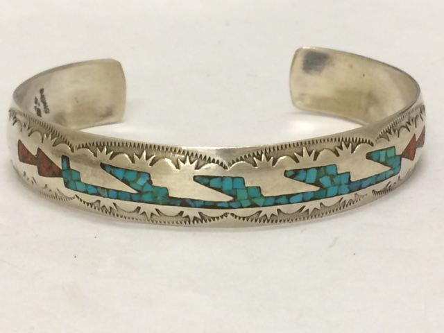 Sterling Silver Zuni Cuff Bracelet With Coral And Turquoise Inlay