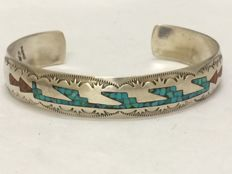Sterling Silver Zuni cuff bracelet with coral and turquoise inlay - New Mexico