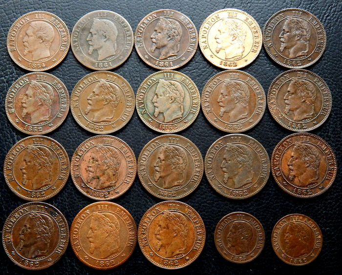 France - 1 cent and 2 cents 1854/1862 (20 coins) - Napoleon III - bronze