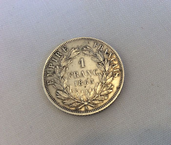 France - 1 Franc 1863 A - Napoleon III - silver