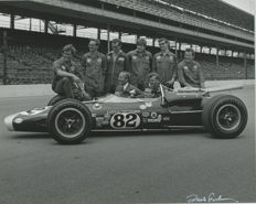 Jim Clark 1965 Indianapolis winner Lotus press signed photograph