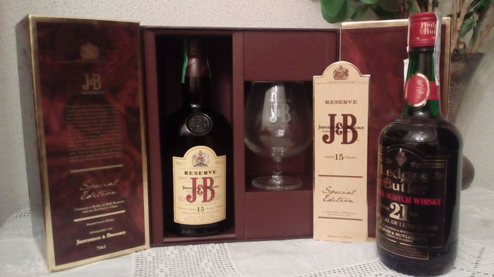 2 bottles - Hedges  & Butler 21 years - 43% & J&B 15 years Reserve Special Edition whith crystal glass