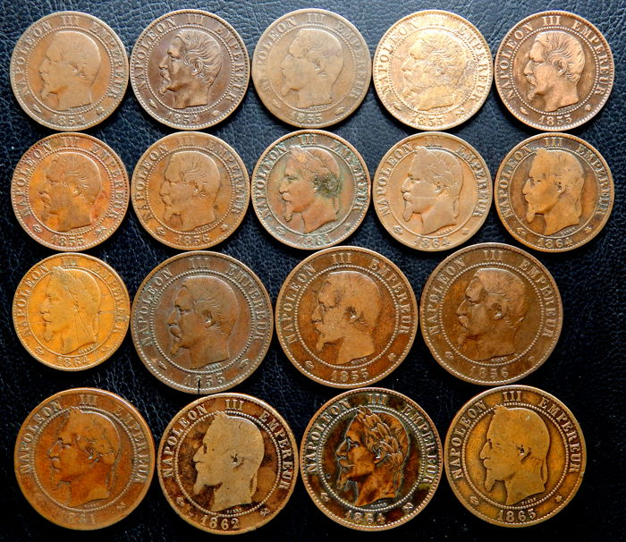 France - 5 cents and 10 cents 1854/1865 (18 coins) - Napoleon III - bronze