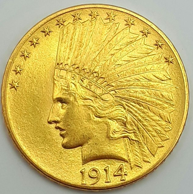 United States - 10 Dollars 1914 'Indian Head' - gold