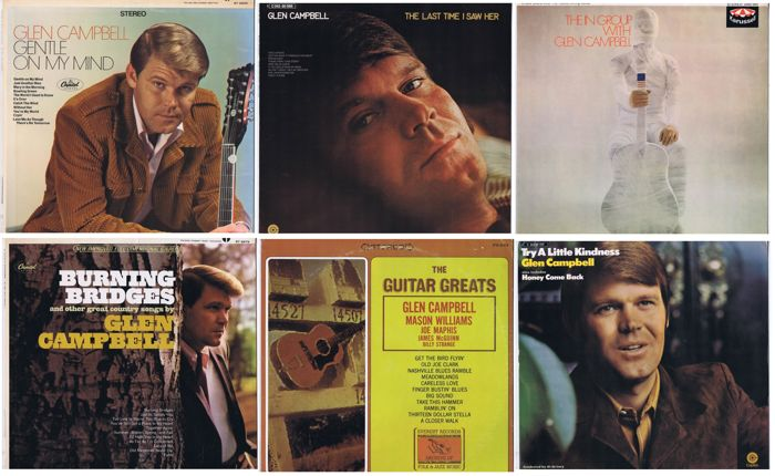 Glen Campbell: Wonderful collection of 6 original albums (3x made in USA   3x made in Germany) ingreat condition