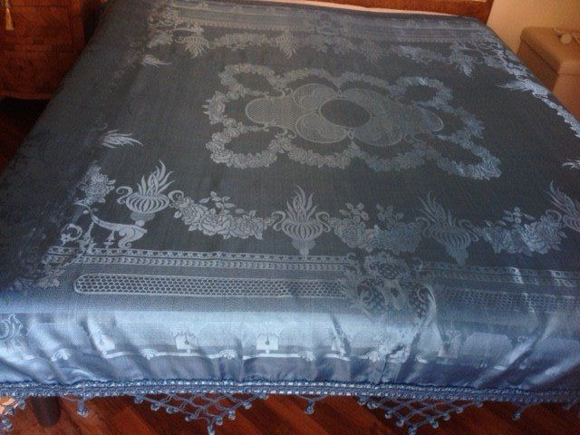 Italy - antique damask silk light blue bedspread, signed San Leucio with trimmings