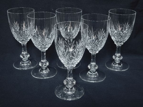 Saint Louis France 6 Massenet Cut Crystal Wine Glasses Signed 13