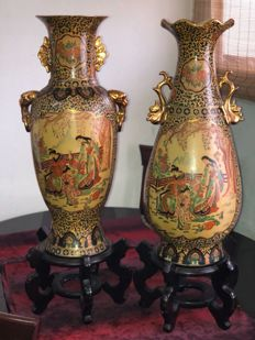 Pair of satsuma style vases - China - late 20th century.