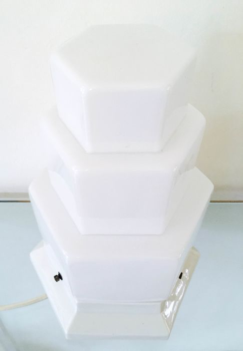 Tiered Milk Glass Table Lamp On A Porcelain Foot Mid 20th Century