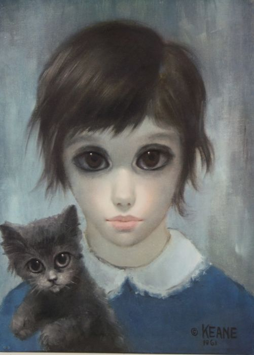 Margaret Keane - Lithographi - Girl And Her Cat