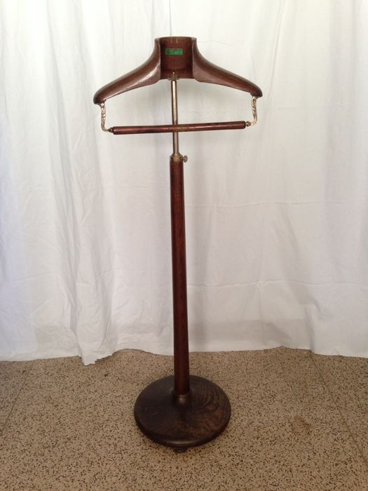 Clothing Hanger With Stand Marked nº 54 - Taylors Item  - adjustable - Wood With beautiful Carved Brass Details - Circa 1920