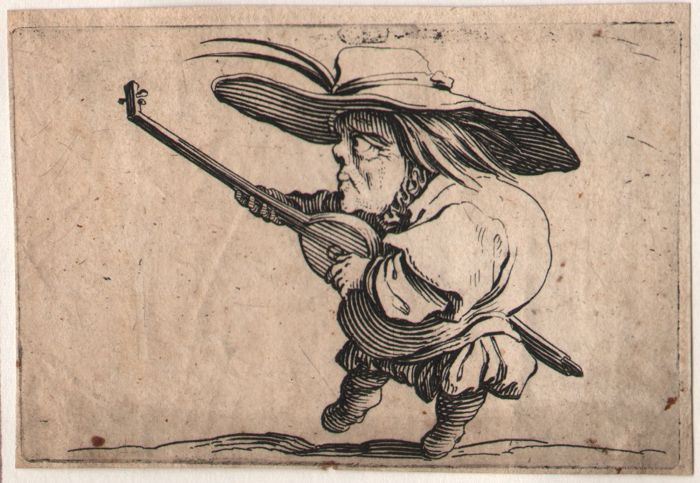 Jacques Callot ( 1592-1632 ) - Dwarf playing lute - First state