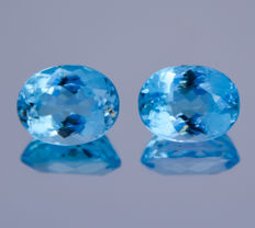 Pair of Swiss blue topazes - 20.73 ct in total