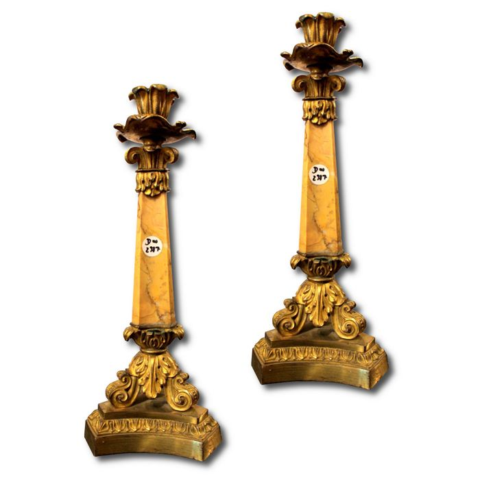 Pair of candlesticks in bronze and Siena yellow marble - Louis Philippe - France - c. 1850
