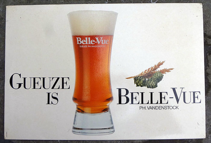 Advertising sign of cardboard - Geuze Bellevue - 1980s?