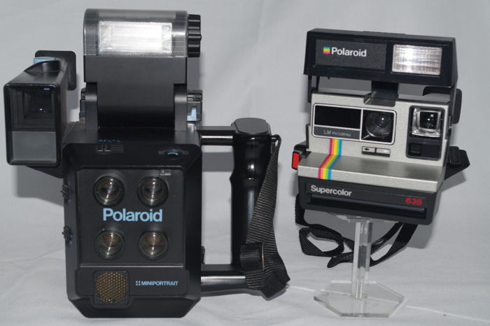 Polaroid Miniportrait Model 403 and Polaroid Supercolor 635 LM-program ( Light Mixer)