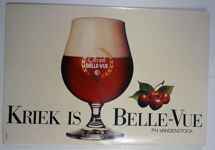 Advertising sign in cardboard - Kriek Bellevue - 1980s?