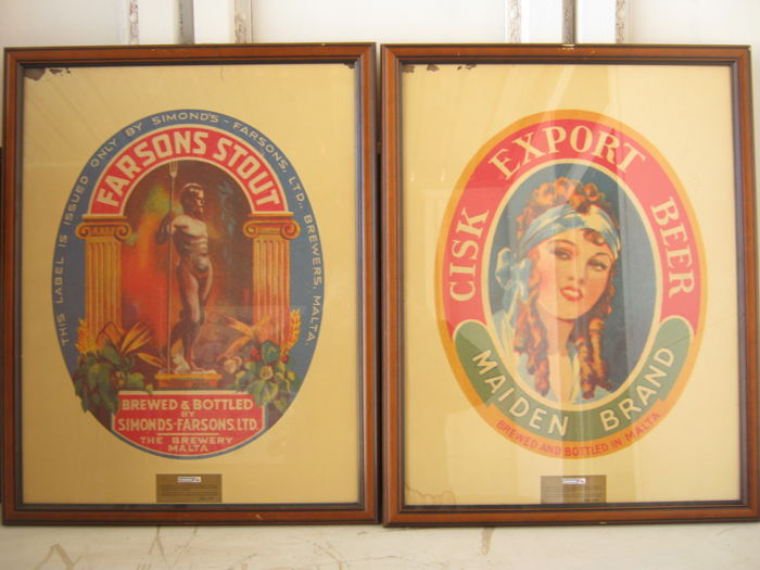 Lot of 2 limited edition and numbered plaques of Cisk beer, brewed in Malta by Farsons Brewery - framed