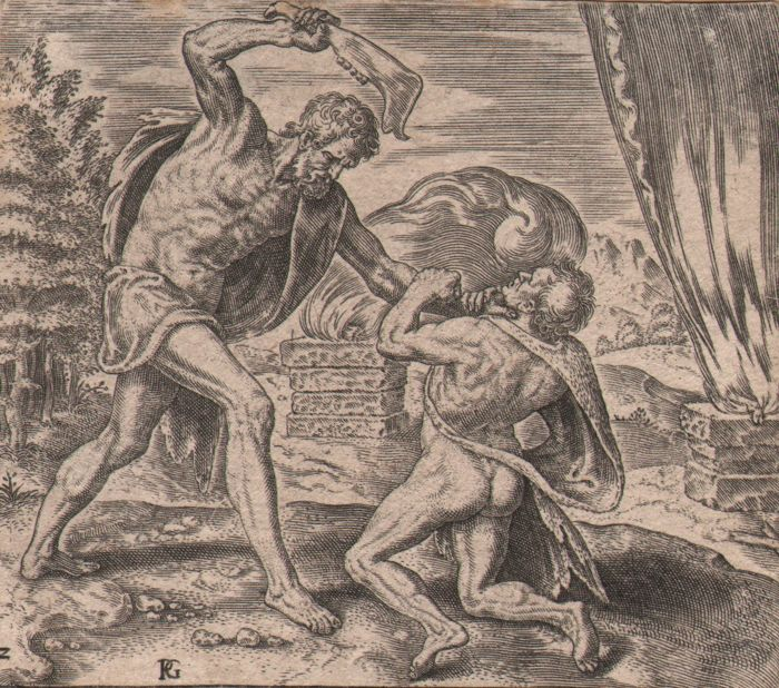 Phillip Galle ( 1537-1612 ) - Cain slaying Abel