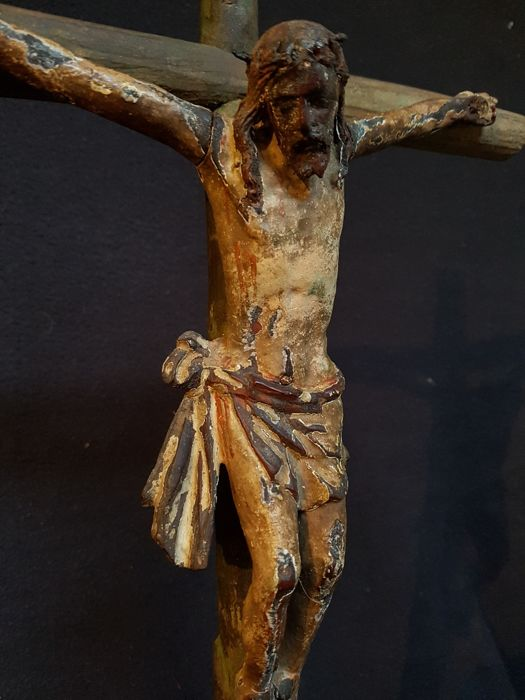 Wooden Crucifix polychrome painted - France - presumably 16th/17th century