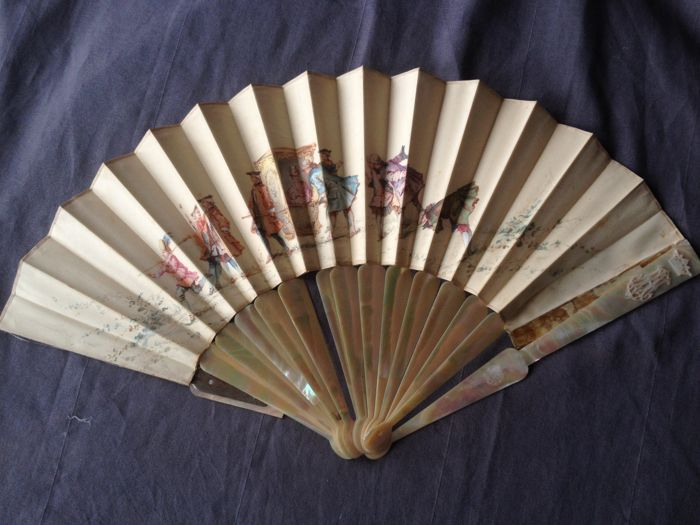 MAISON ALEXANDRE: Nacre folding fan with painted Court scene decoration, France, circa 1880