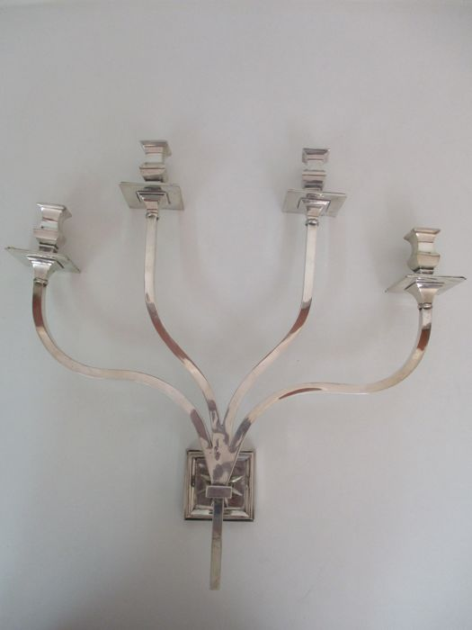 Lamp - Wall lamp - Candlestick - 4 lights - Silver plated - With wiring - Vintage - 1960s