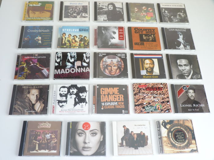 Big Lot with 24 Rock , Pop & Hard Rock cd´s : Status Quo,Beach Boys   tracks,Crosby&Nash,Psychedelic Furs,DeepPurple,Cranberries, the Family Dogg, Bryan Adams, Marvin Gaye, Doobie Brothers,Billy Joel and many others