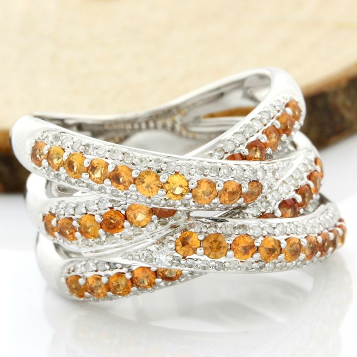14 kt White Gold - 2.00 ct Citrine, 0.65 ct H-I, SI1-I1 Diamond Ring; Size: 7