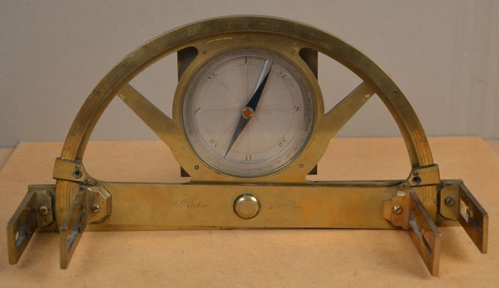 Antique brass graphometer from France. Early 20th century.