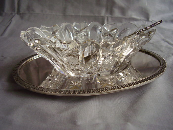 Sauce Boat, 800 Silver and Cut Crystal Alignani Pasquale & Mariano for jeweller Marinai Milan, circa 1950