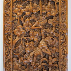 Carved wooden panel with a detailed depiction from Indonesia - second half 20th century