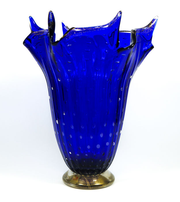 Imperio Rossi (Murano) - Blue balloton vase with 24 kt gold leaf