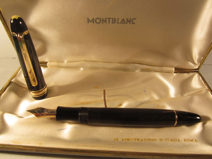 Rare and fine Montblanc Meisterstuck 144 black celluloid fountain pen, vintage 1950s