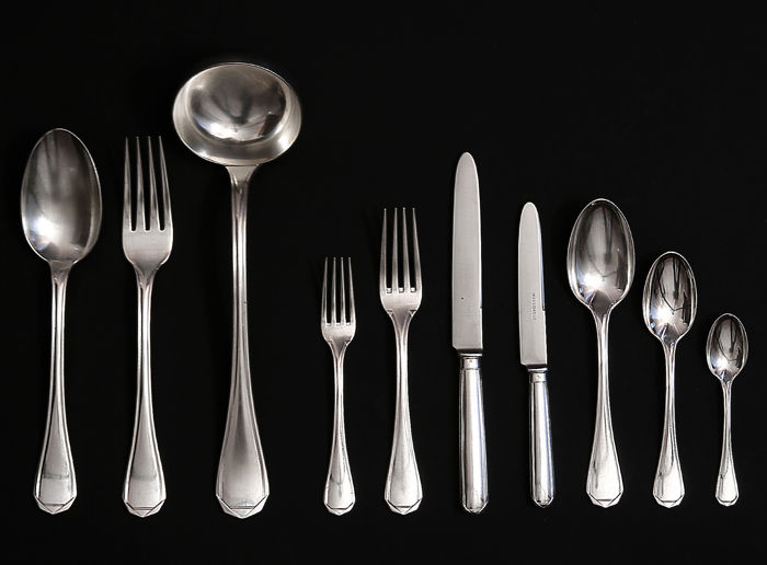 Art Deco 86-piece cutlery set for 12, Cesa 1882, Italy, Alessandria, beginning XXth c.
